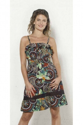 Cotton dress and thin straps in sunny colors