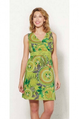 Short cotton dress fitted and colorful with Tahitian motifs