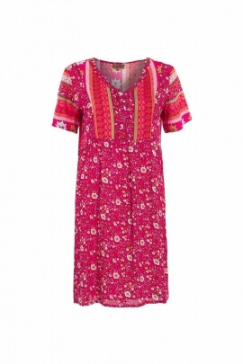 Dress composed of an assemblage of fabrics with ethnic boho patterns