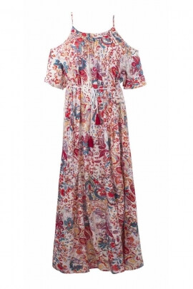 Loose base long dress with ruching at the neckline