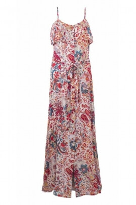 Retro style button down front long dress