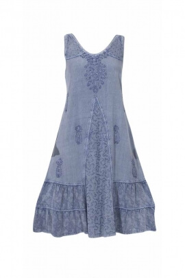 Stone wash dress with wide straps and V-neck