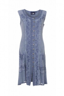 Stone wash shirt dress, finely worked details of embroidery