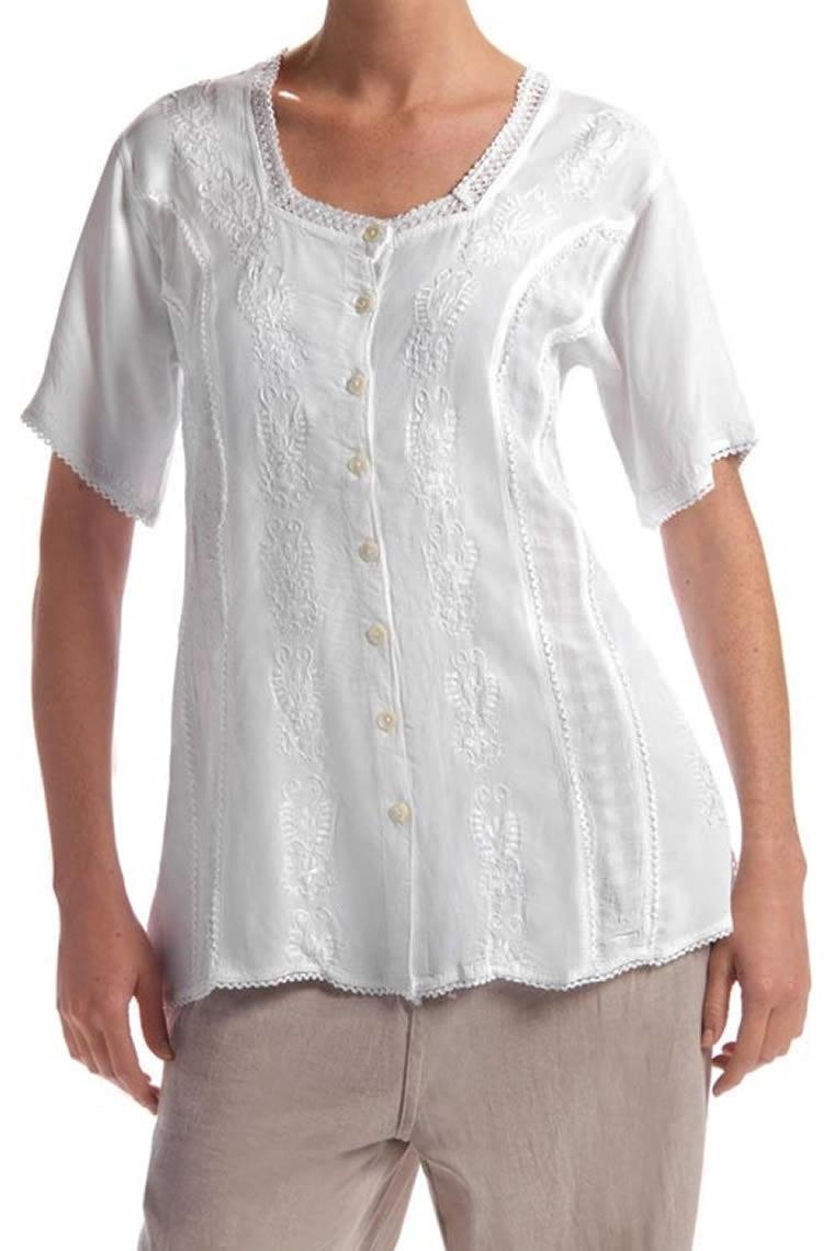 Chemisier tunique blanc mousseline de coton AEREES chemisier taille 40 42
