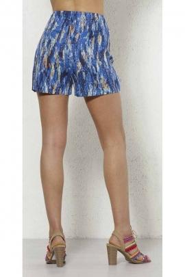 Viscose short skirt, ethnic motifs, side zipper