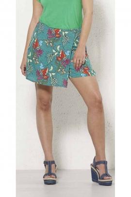 Viscose short skirt, leaf print, side zipper