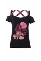Colorful T-shirt floral prints and pieces of patchwork fabrics