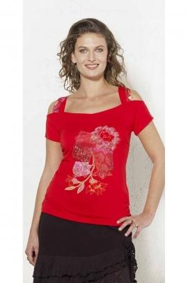 Tee-shirt coloré impressions florales et morceaux de tissus patchwork