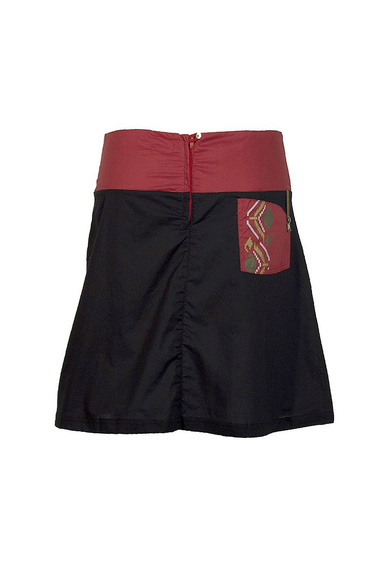 Short Skirt Cotton Fabric Printed With Aztec Side Pocket
