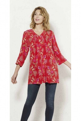 Long shirt tunic in viscose printed with beautiful leaves