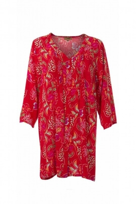 Tunique chemise longue en viscose imprimée de belles feuilles