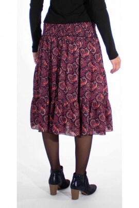 Flowing 3-panel ruched midi skirt lined with Persian print