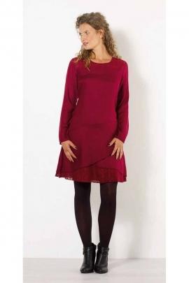 Viscose crepe midi dress, cotton lace panel