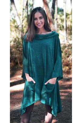 Comfortable oversized sweater dress very loose fit wide drop collar