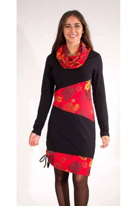 Black and red asymmetrical dress, dynamic look in cotton jersey