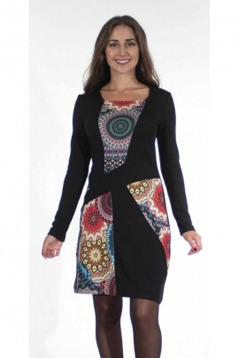Chic and colorful dress long sleeves fabric panels with rosettes