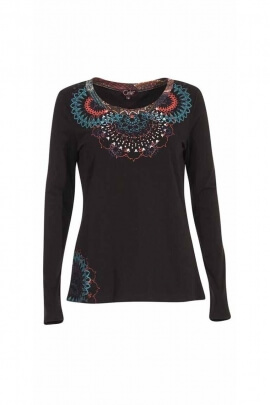 Women's long sleeve T-shirt, rosette reminders on the bust