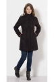 Warm black coat with wool cloth effect, lined with faux fur