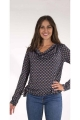 Blouse blouse drop neck, graphic print