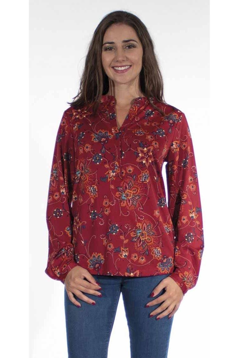 Beautiful bohemian rose flower print blouse