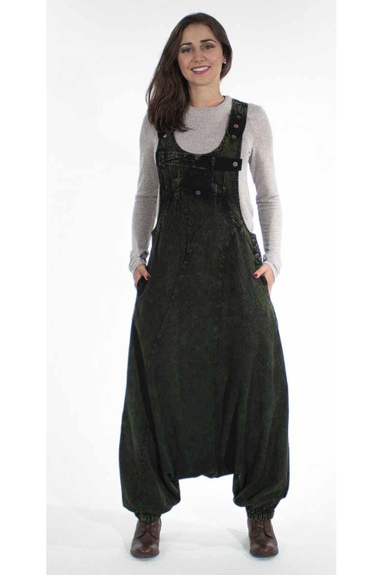 Women's cotton overalls stone wash solid color