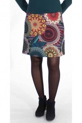 Falda corta de color malla de rosetas en poliéster elastano