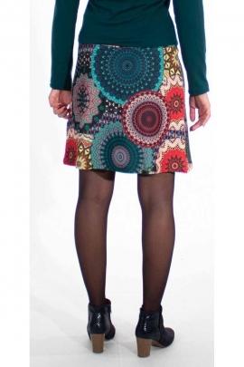 Short skirt colored mesh of rosettes in polyester elastane