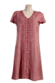 Minidress embroidered viscose sleeves georgette button