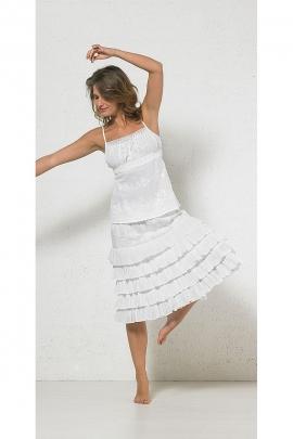 Falda de mediados de larga de algodón bordado de 5 de vuelo