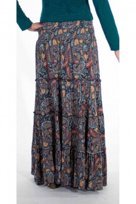 Long bohemian skirt in viscose and Gaya prints