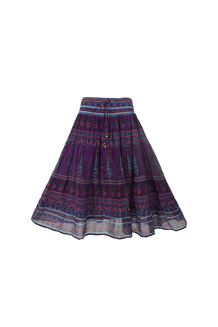 Indian Cotton Voile Skirt Lined Hippie Chic In Spring Summer