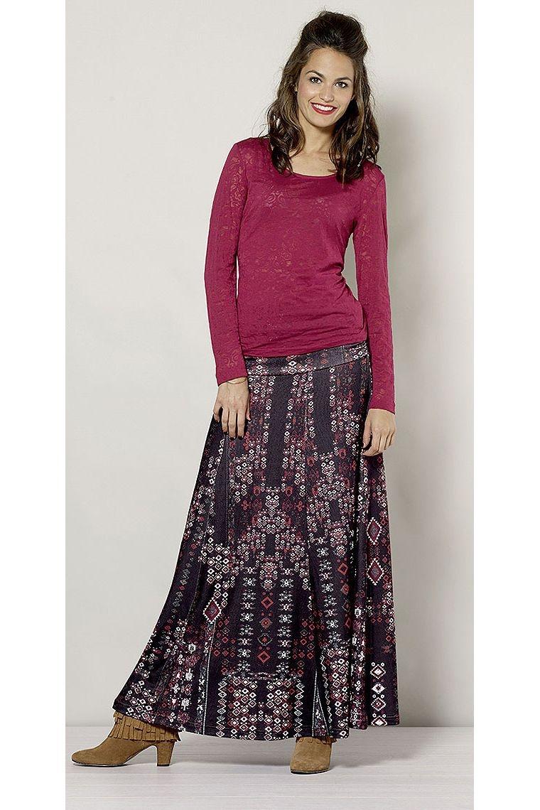jupe longue maille motifs tribal fabriqu e en polyester et lasthanne. Black Bedroom Furniture Sets. Home Design Ideas