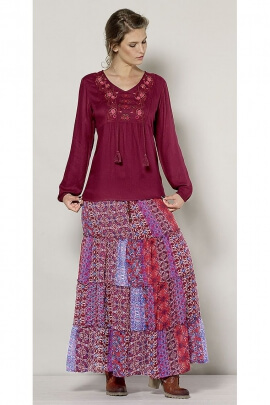 Bohemian style long skirt Indian
