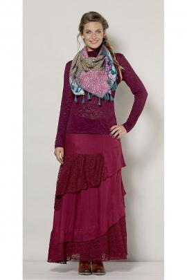 Long skirt asymmetrical lace ruffle