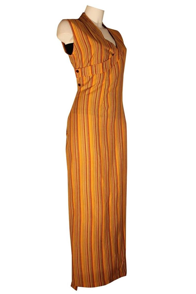 Coton Rayé Stone S Couleur Tibet Wash Orange Robe Longue Taille BeCxod