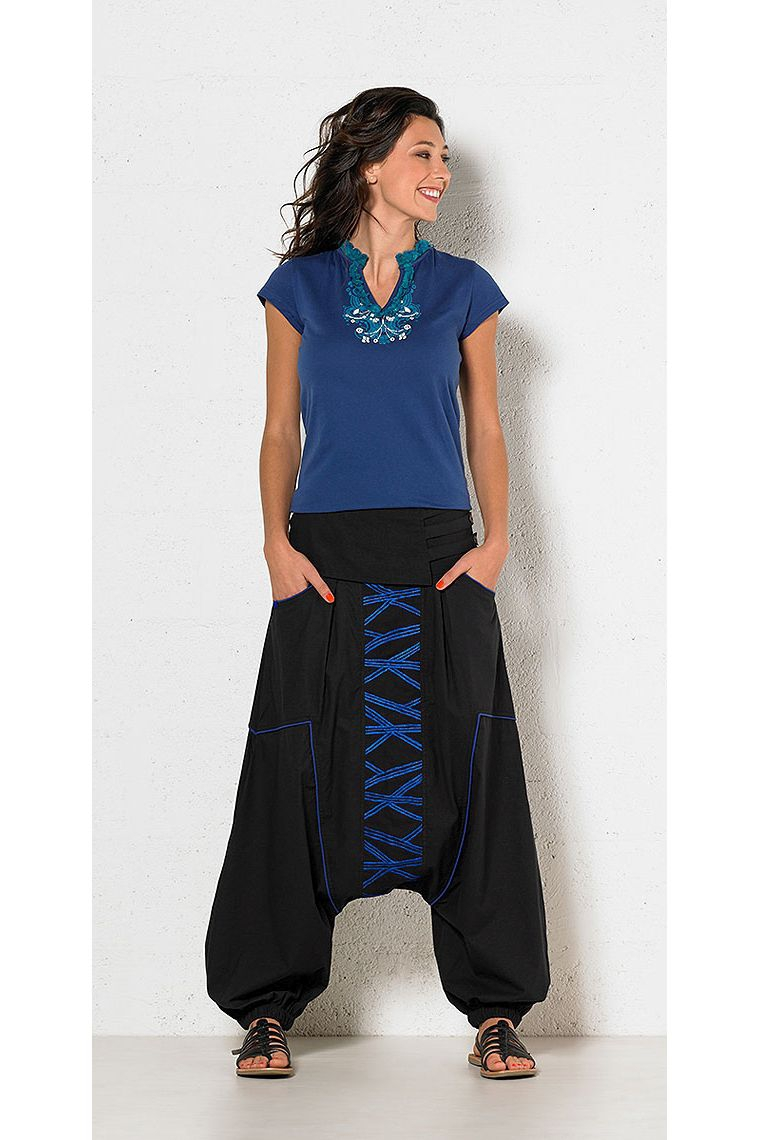 sarouel pants embroidered cotton Maya style for an ...