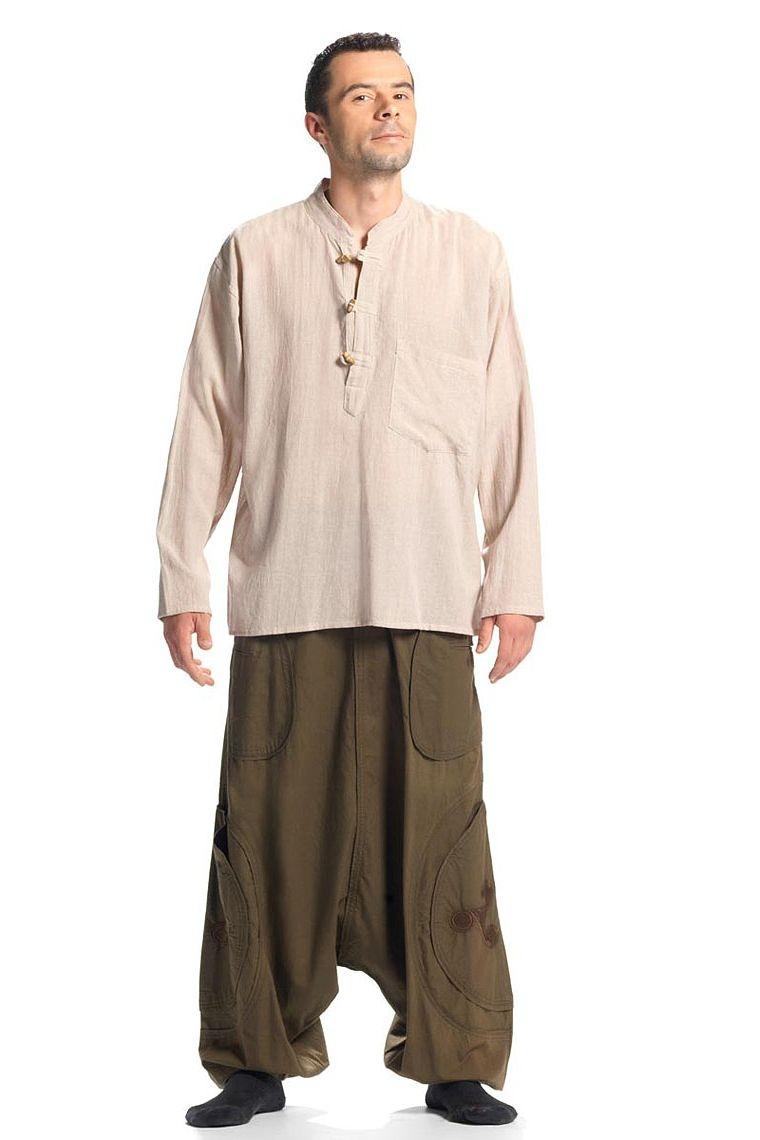 Chemise homme coton kurta uni manches longues