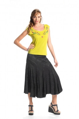 Fully embroidered long skirt