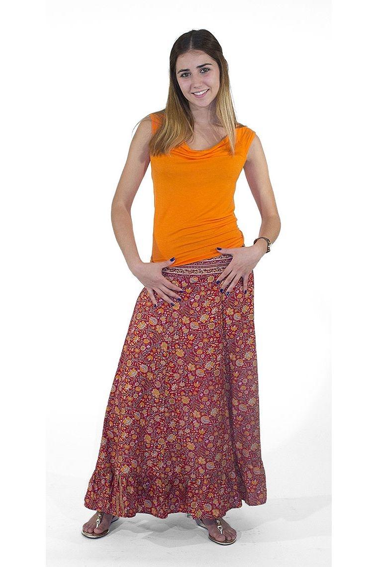 jupe longue fa on sari longue volants en bas. Black Bedroom Furniture Sets. Home Design Ideas