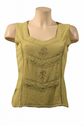 Blouse viscose embroidered stone wash