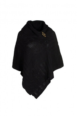 Poncho maille 3 boutons bois