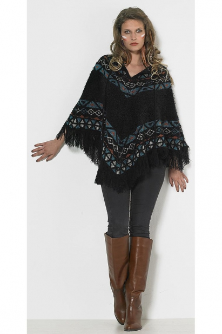 Aztec style knit poncho
