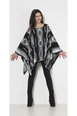 Poncho maille style ethnique