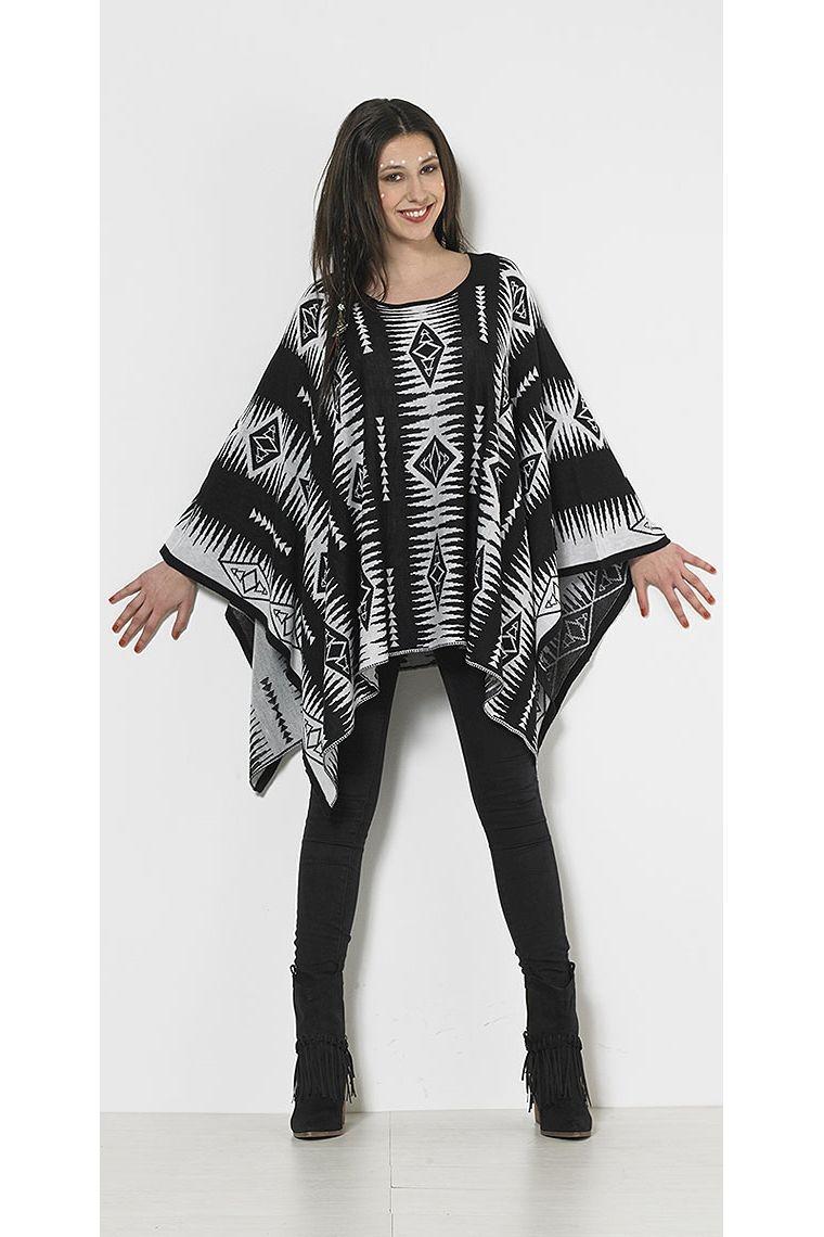 Ethnic style knit poncho