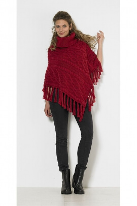 Poncho turtleneck fringes