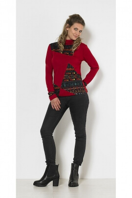 Ethnic sleeved sweater lonques printed patch