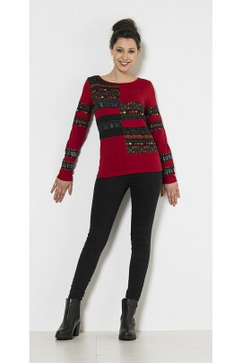 Ethnic sleeved sweater lonques printed Maya