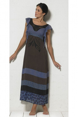 Long cotton dress lined flying indigo